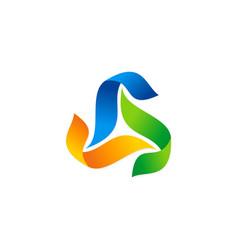 triangle circle ribbon colorful abstract logo vector image