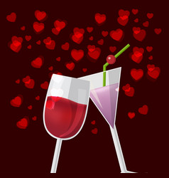 Valentine love glass celebrate happy vector