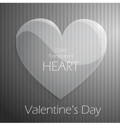 Valentines Day glass transparent heart vector image