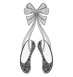 Zentangle ballet dance shoes symbol vector