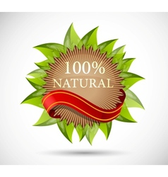 Label with leaves vector image