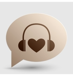 Headphones with heart brown gradient icon on vector
