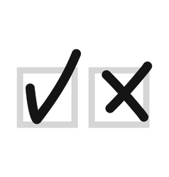 Checkmark to accept and refusal icon flat style vector