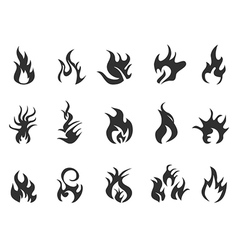 Black flame icon vector
