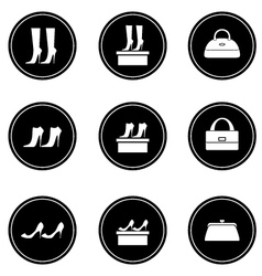 Black icons female bags and shoes vector image