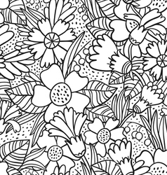 Black doodle flowers pattern vector