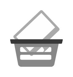 Basket buying online computer screen wireless gray vector