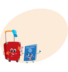 Suitcase and passport characters travelling vector