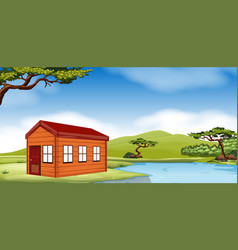 Wooden cottage by the pond vector