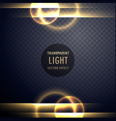 Golden light lens effect transparent background vector