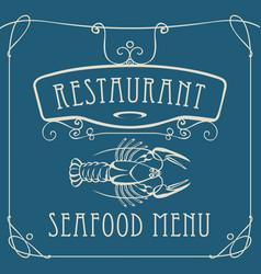 Seafood restaurant menu with crayfish vector