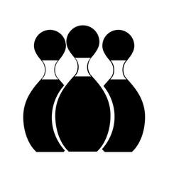 black icon bowling pins cartoon vector image