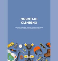 Vertical banner flat design equipment for climbing vector