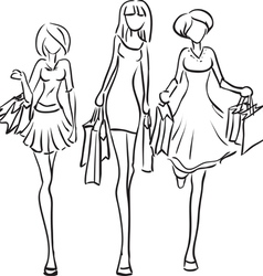 Series shopping friends vector