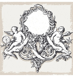 Vintage floral frame with angels vector