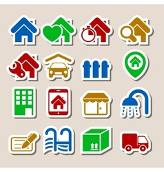 Real Estate Icons as Labels vector image