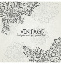 Vintage background with flowers dahlias for your vector