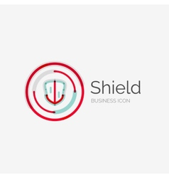 Thin line neat design logo shield icon vector