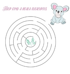 Labyrinth maze find a way koala vector