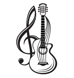 Treble clef and guitar vector