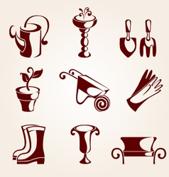 Gardening elements set vector