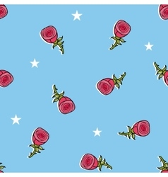 Seamless pattern with cute roses and stars vector