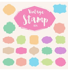 Set of pastel colour vintage stamp blank frame vector
