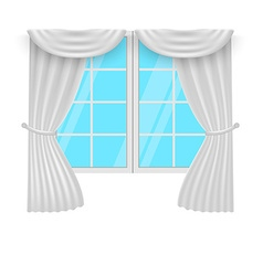 Window curtains white curtans and windows vector