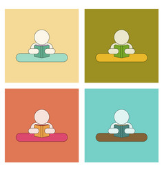 Assembly flat icons man reading book vector