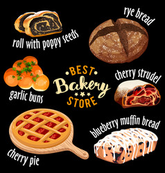 bakery shop icons baked sweets icons vector image vector image