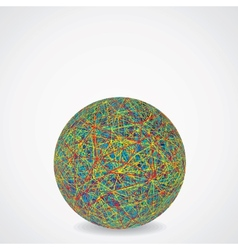 Ball of Chaotic Multicolored Cables vector image vector image