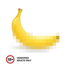 Banana closed by censorship symbol adult only 18 vector