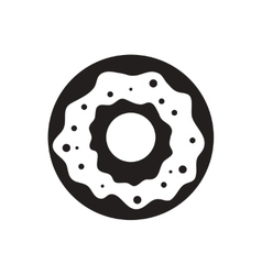 Black icon on white background donut with vector