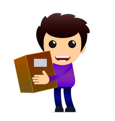 cartoon delivery boy with package vector image vector image