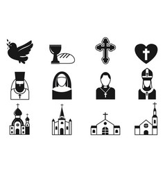 christianity religion flat icons vector image vector image