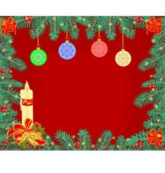 Christmas background decoration frame branches vector image vector image