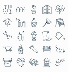 Collection of outline gardening icons vector
