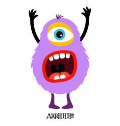 Cute violet monster print for t-shirt vector