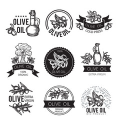 different monochrome labels of olive products and vector image
