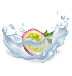 exotic passion fruit in clean water drops vector image
