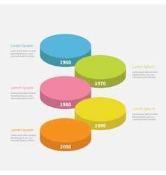Five step timeline vertical round colorful stage vector