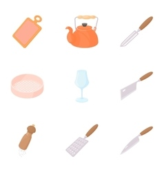 Food dishes icons set cartoon style vector