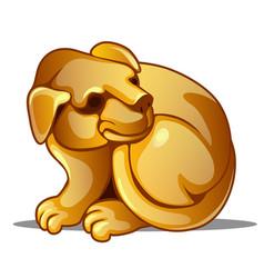 golden figure of dog chinese horoscope symbol vector image