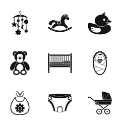 Newborn icons set simple style vector image vector image