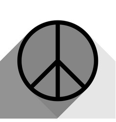peace sign black icon with vector image