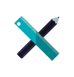 Pencil and ruler icon vector