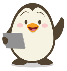 penguin with tablet vector image vector image
