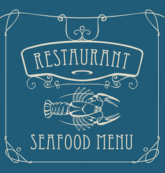 Seafood restaurant menu with crayfish vector