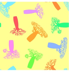 Seamless pattern made from colorful baobabs vector