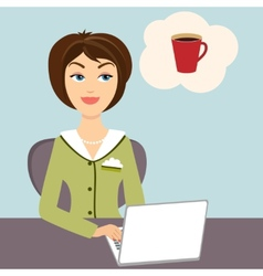 Secretary with mug of hot coffee vector